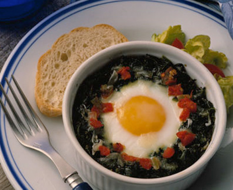 Sassy Spinach Baked Eggs