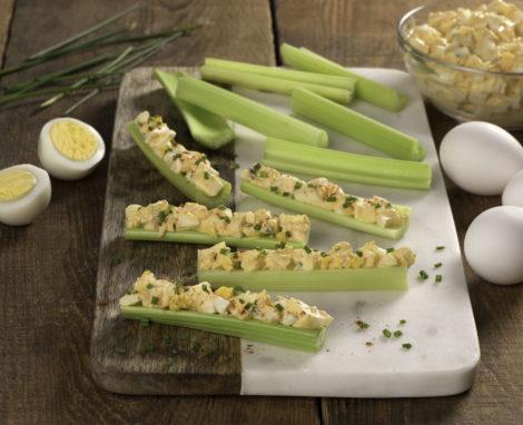 Buffalo Egg Salad Celery Sticks