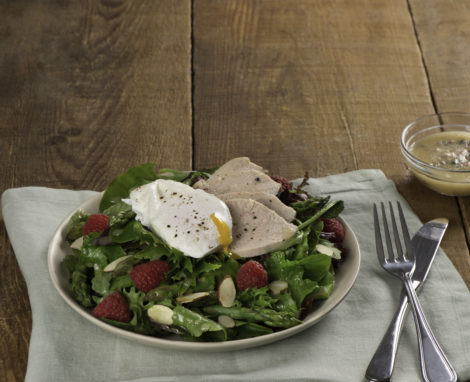 Chicken and Asparagus Salad with Poached Eggs