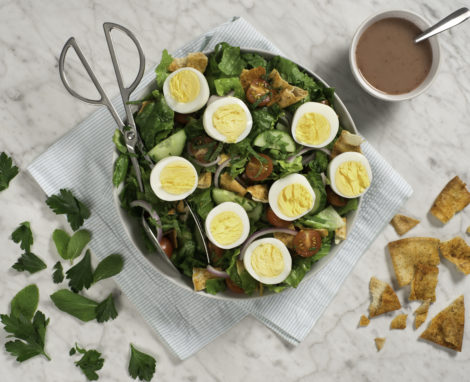 Chopped Fattoush Salad with Hard-Boiled Eggs