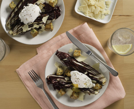 Grilled Radicchio with Parmesan and Poached Eggs