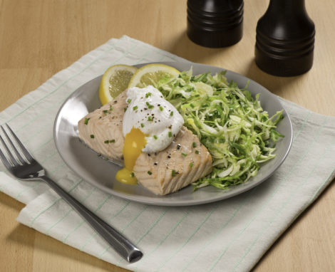 Poached Salmon with Brussels Sprout Slaw