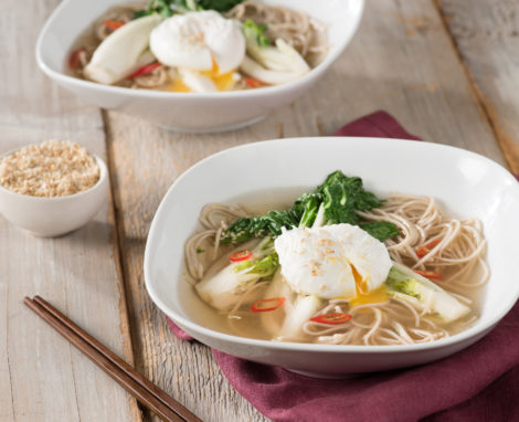 Soba Noodle and Bok Choy Soup with Poached Eggs
