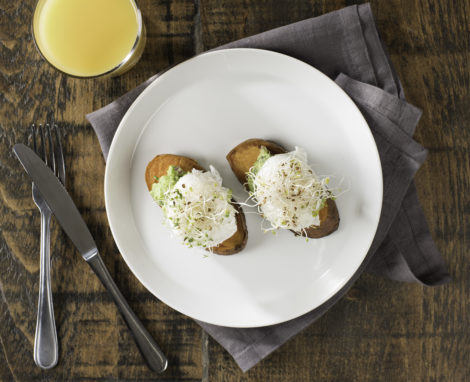"Sweet Potato ""Toast"" with Poached Eggs"