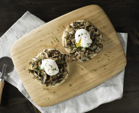 Wild Mushroom Flatbread with Poached Eggs