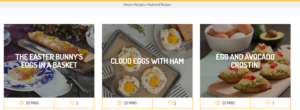nc egg_screenshot of featured recipes page