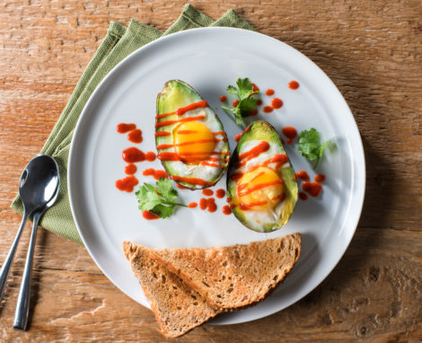 Spicy Sriracha Baked Avocado Eggs