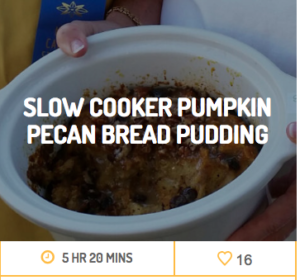 slow cooker pumpkin pecan bread pudding