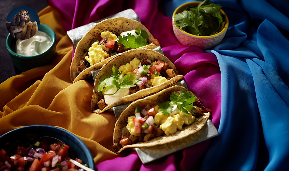 CONTORTIONIST'S FOLDED EGG AND CHORIZO TACOS