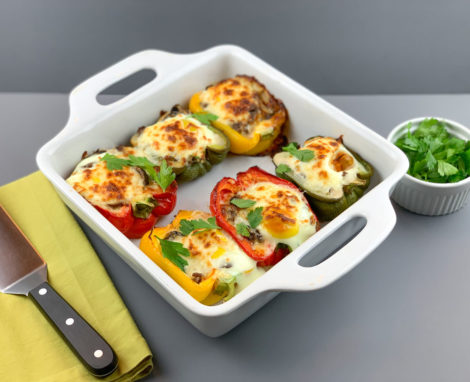 Stuffed Peppers with Egg Toppers
