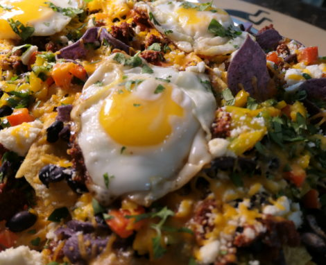 Nachos Topped with Fried Eggs