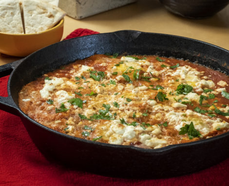 North African Baked Eggs with Chickpeas & Feta