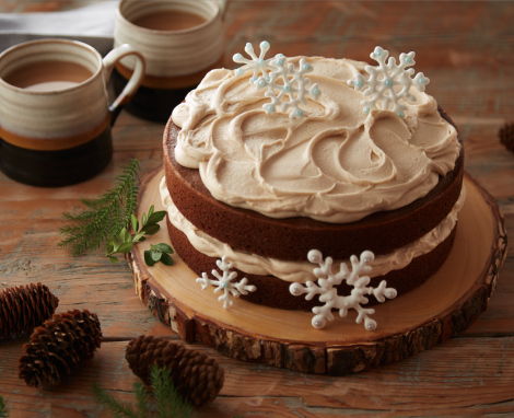 Gingerbread Cake with Caramel Frosting and Meringue Snowflakes