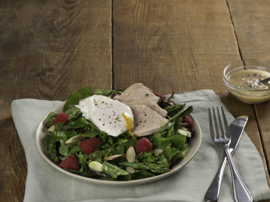 Chicken and Asparagus Salad with Poached Egg
